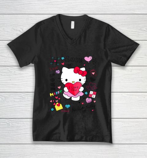 Hello Kitty Love Notes Valentine Tee V-Neck T-Shirt