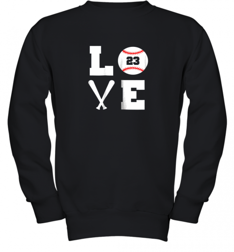 I Love Baseball Player Number #23 Gift Shirt Youth Sweatshirt