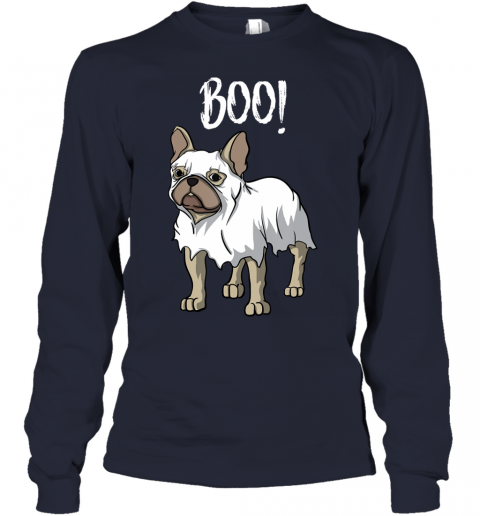 Frenchie Ghost Costume Funny French Bulldog Halloween Youth Long Sleeve