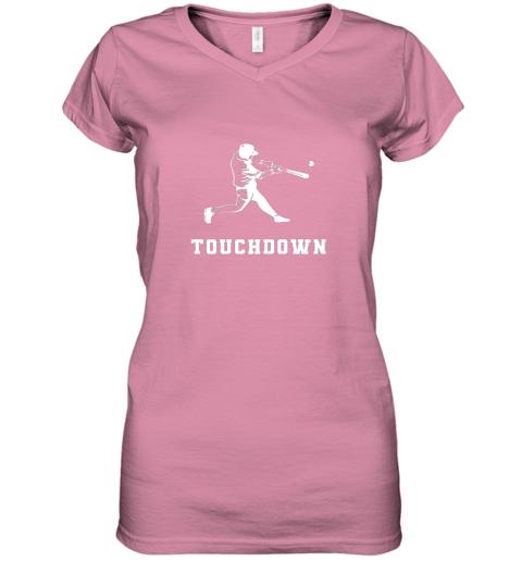 v1ed touchdown baseball shirtfunny sarcastic novelty women v neck t shirt 39 front azalea