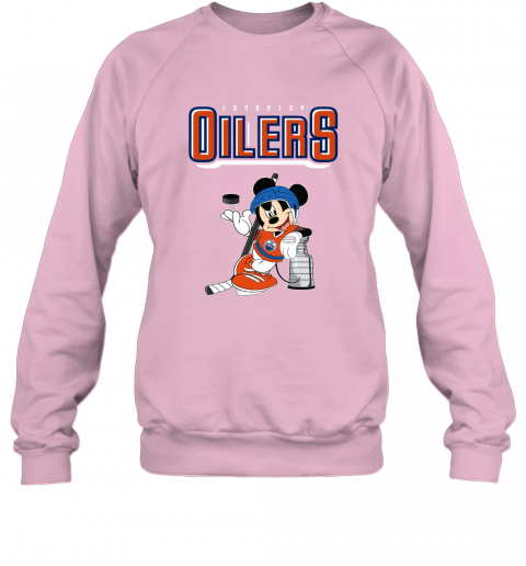v2qw mickey edmonton oilers with the stanley cup hockey nhl shirt sweatshirt 35 front light pink