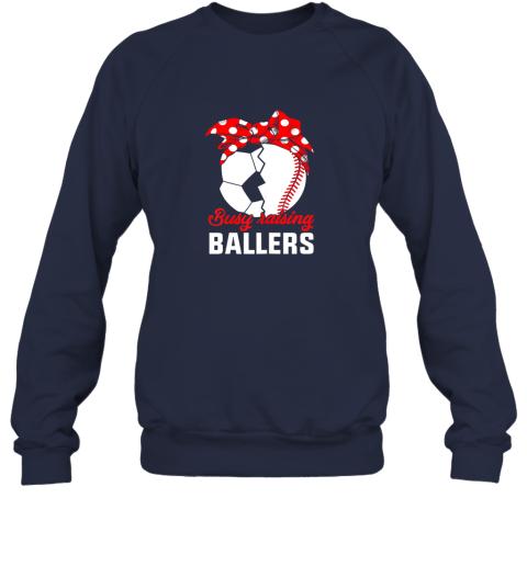 5ksg busy raising a ballerfunny baseball soccer mom sweatshirt 35 front navy