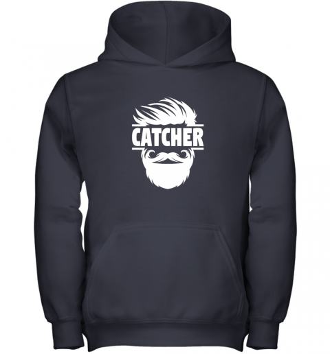 nmt7 bearded baseball catcher youth hoodie 43 front navy