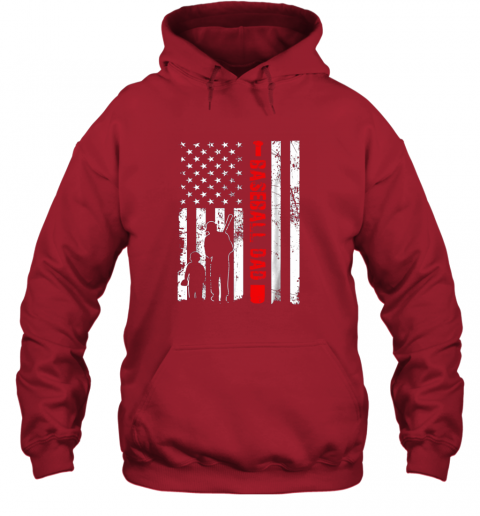 xj2r mens proud baseball dad american flag sports hoodie 23 front red