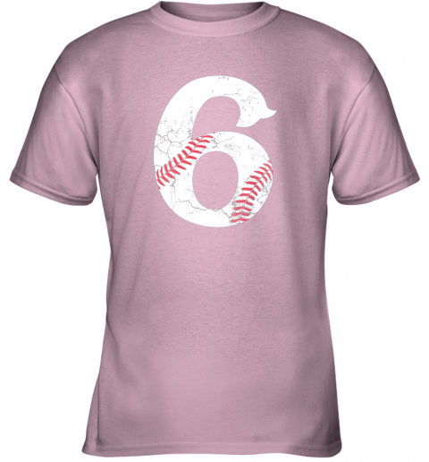 6bm4 kids happy birthday 6th 6 year old baseball gift boys girls 2013 youth t shirt 26 front light pink