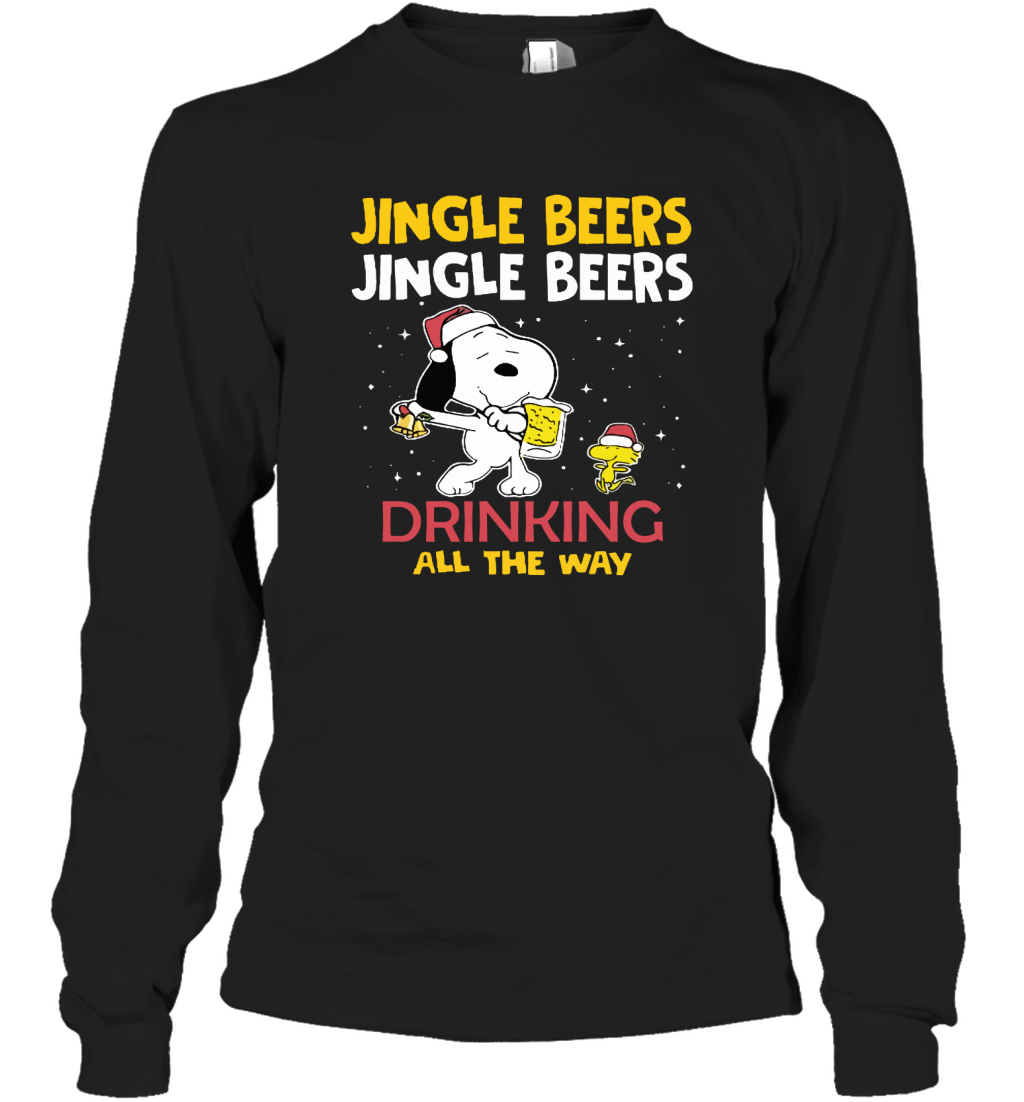 Jingle Beers Drinking All The Way Snoopy Long Sleeve T-Shirt