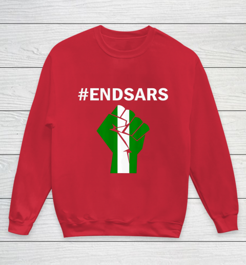 EndSARS End SARS Nigeria Flag Colors Strong Fist Protest Youth Sweatshirt 7