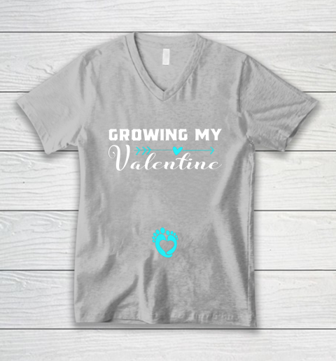 Cute Growing my Valentine Gift for Women pregnancy V-Neck T-Shirt 3