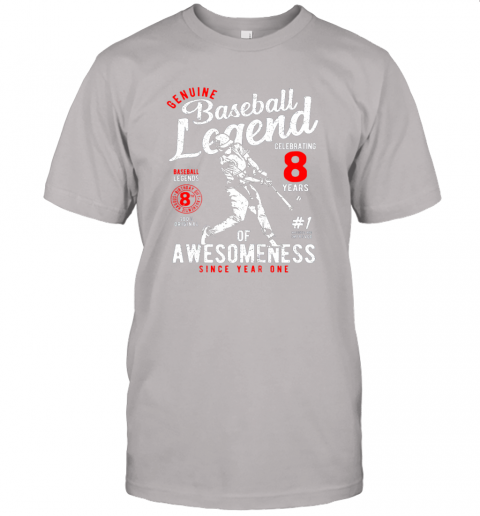 7pfz kids 8th birthday gift baseball legend 8 years jersey t shirt 60 front ash