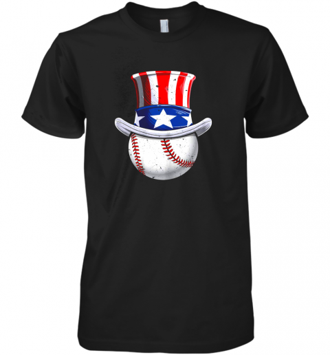 Baseball Uncle Sam Shirt 4th of July Boys American Flag Premium Men's T-Shirt