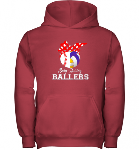 4zxv baseball volleyball busy raising ballers shirt mothers day youth hoodie 43 front red