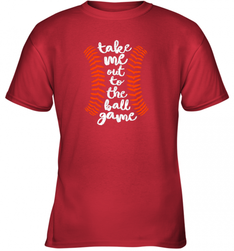 uvoz take me out ball game shirt baseball song orange black blue youth t shirt 26 front red