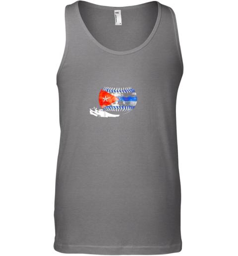 55mb vintage baseball cuba flag shirt cuban pride unisex tank 17 front graphite heather