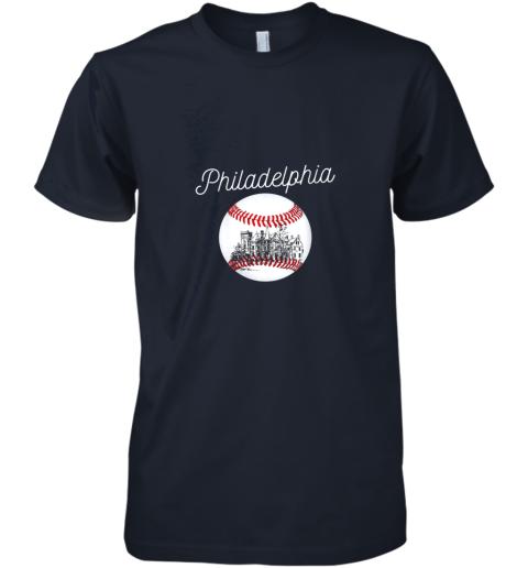 pttx philadelphia baseball philly tshirt ball and skyline design premium guys tee 5 front midnight navy
