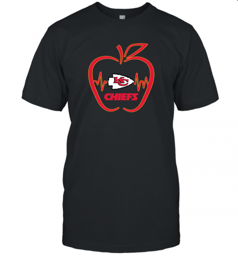 Apple Heartbeat Teacher Symbol Kansas city chiefs Unisex Jersey Tee