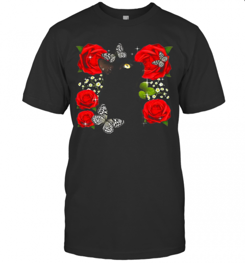 Black Cat Rose Flowers Butterfly T-Shirt