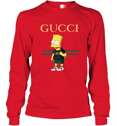 p6nt gucci bart simpson long sleeve tee 14 front red