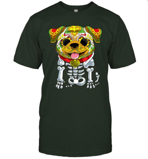 Dia de Los Muertos and Halloween Sugar Skull Bulldog Dog T-Shirt