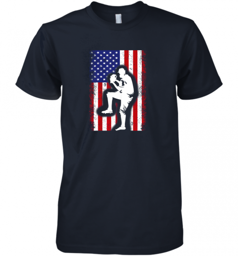 wiud vintage usa american flag baseball player team gift premium guys tee 5 front midnight navy