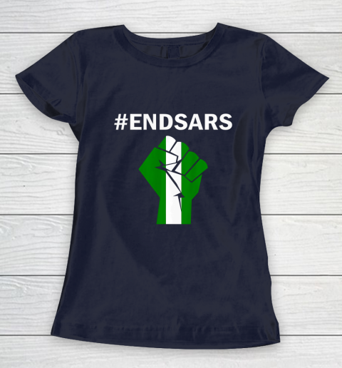 EndSARS End SARS Nigeria Flag Colors Strong Fist Protest Women's T-Shirt 2