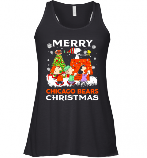 Merry Chicago Bears Christmas Snoopy Peanuts Racerback Tank