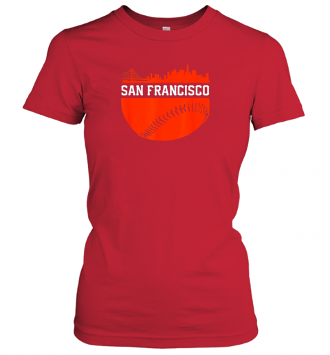 oplv san francisco baseball vintage sf the city skyline gift ladies t shirt 20 front red