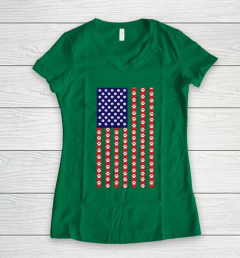 Basketball Dog Lover American Flag Women's V-Neck T-Shirt 3