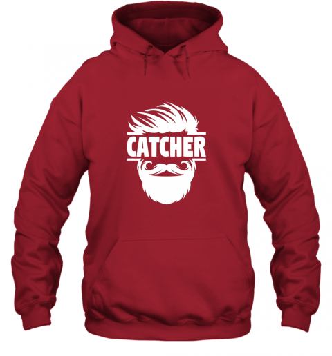 gqyp bearded baseball catcher hoodie 23 front red