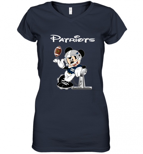 ro5e mickey patriots taking the super bowl trophy football women v neck t shirt 39 front navy