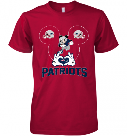 yeyk i love the patriots mickey mouse new england patriots premium guys tee 5 front red