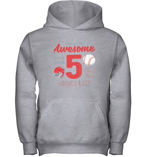 fuxn kids 5th birthday gift awesome 5 year old baseball legend youth hoodie 43 front sport grey