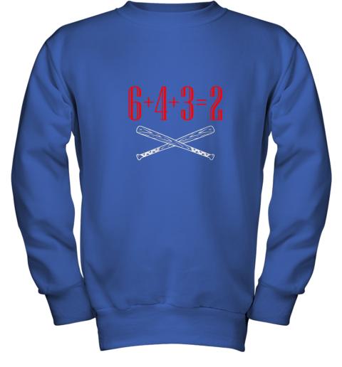 spb4 funny baseball math 6 plus 4 plus 3 equals 2 double play youth sweatshirt 47 front royal