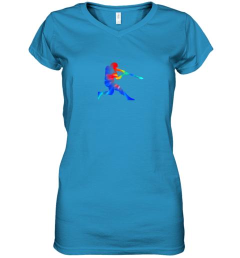kroj tie dye baseball batter shirt retro player coach boys gifts women v neck t shirt 39 front sapphire