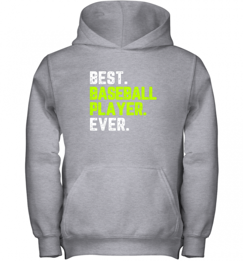 gooo best baseball player ever funny quote gift youth hoodie 43 front sport grey
