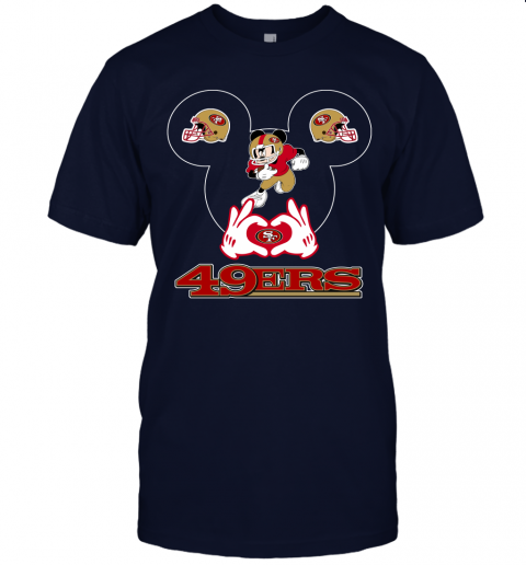 uv6n i love the 49ers mickey mouse san francisco 49ers jersey t shirt 60 front navy