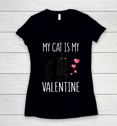 Black Cat Shirt For Valentine s Day My Cat Is My Valentine Women's V-Neck T-Shirt 9