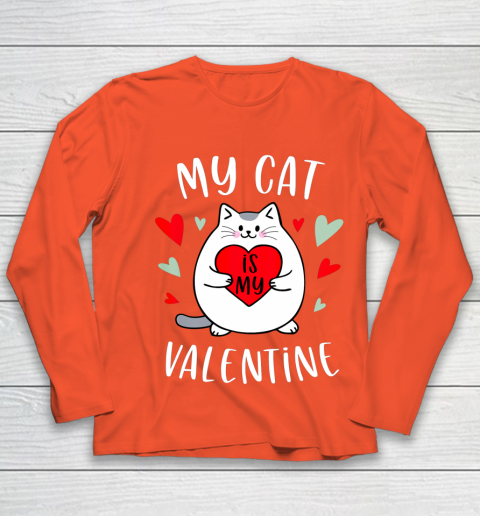 My Cat Is My Valentine Kitten Lover Heart Valentines Day Youth Long Sleeve 3