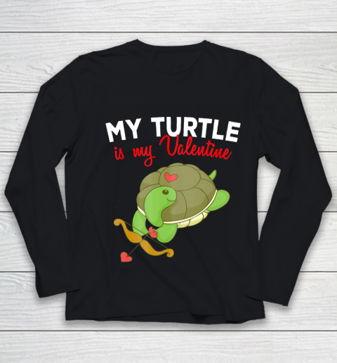 Turtle Valentine T Shirt Sea Turtle Cupid Valentines Day Youth Long Sleeve