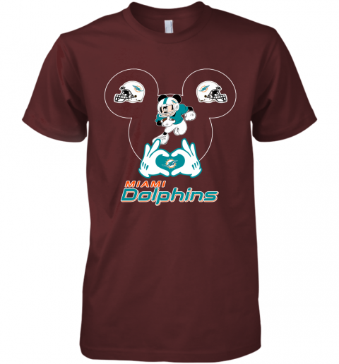 gqrj i love the dolphins mickey mouse miami dolphins premium guys tee 5 front maroon