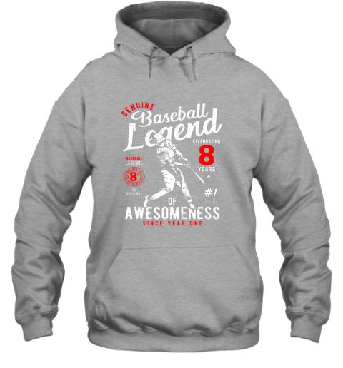 xu1r kids 8th birthday gift baseball legend 8 years hoodie 23 front sport grey