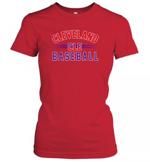6xkc cleveland cle baseball ladies t shirt 20 front red