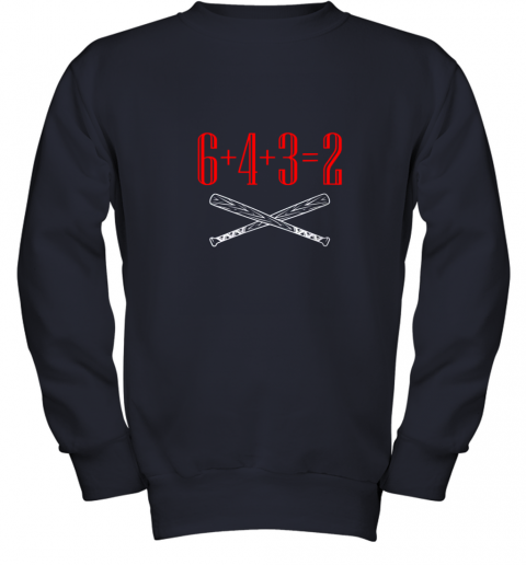 spb4 funny baseball math 6 plus 4 plus 3 equals 2 double play youth sweatshirt 47 front navy
