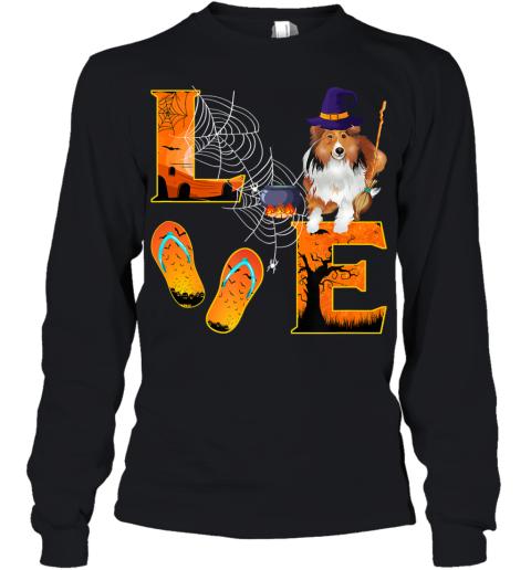 sheltie Love Halloween Boo Dog Gifts sheltie lover Youth Long Sleeve