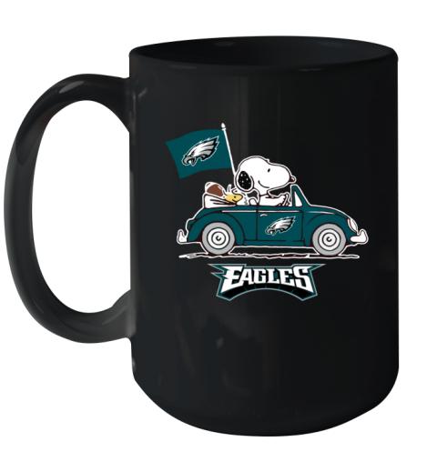 Snoopy And Woodstock Ride The Philadelphia Eagles Car Ceramic Mug 15oz