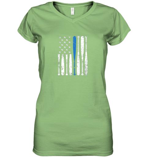 5mir thin blue line leo usa flag police support baseball bat women v neck t shirt 39 front lime