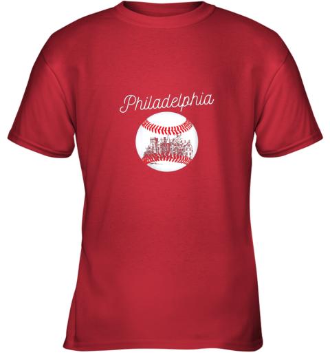 opqv philadelphia baseball philly tshirt ball and skyline design youth t shirt 26 front red