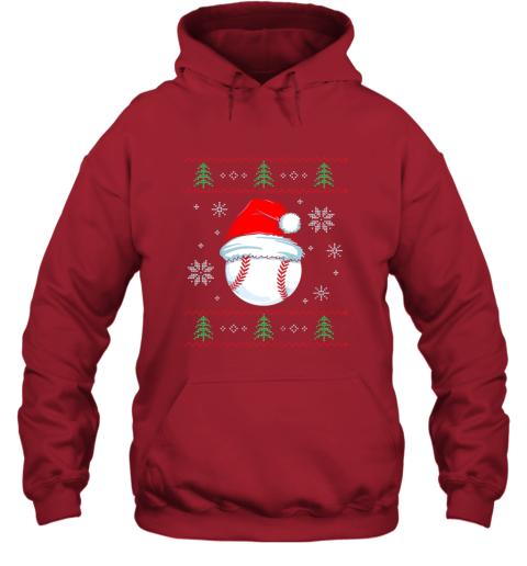 vz0w ugly christmas baseball shirt boys kids ball santa pajama hoodie 23 front red