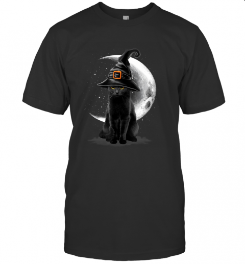Vintage Scary Black Cat Halloween Witch Hat & Moon T-Shirt