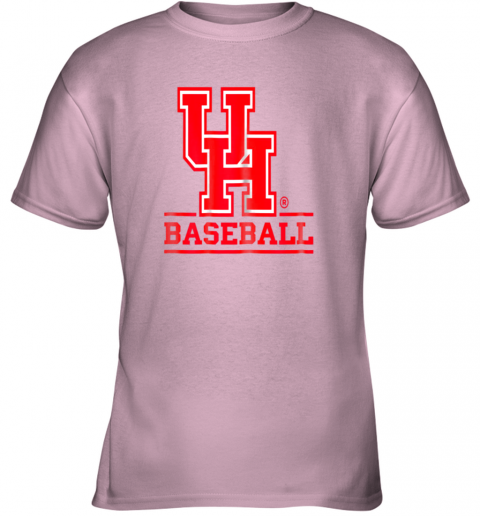 9pbz university of houston cougars baseball shirt youth t shirt 26 front light pink