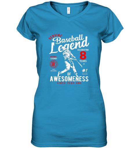 ulvx kids 8th birthday gift baseball legend 8 years women v neck t shirt 39 front sapphire